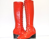 Size 6 Vintage 60s Mod Red Cherry Bomb Patent GoGo Boots