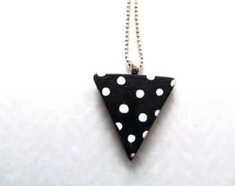 triangle pendant - black and white polka dot