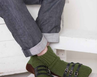 Mens Slipper Socks Mens Knit Slippers Olive Green Dark Brown Sandal Sock Mens House Slippers Mens Knit Socks Leather Straps