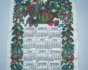 Vintage 1969 Calendar Towel Baskets of Berries Signed