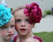 Teal/Plum Peony Baby Flower Headband on Skinny Glitter Band - Toddler/Girl Photo Prop - Holiday Vintage Rhinestone Big Bow - Aqua/Magenta