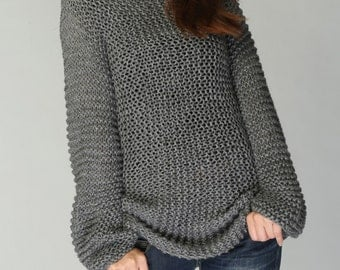Hand knit sweater - Eco cotton long sweater in Charcoal/ dark grey