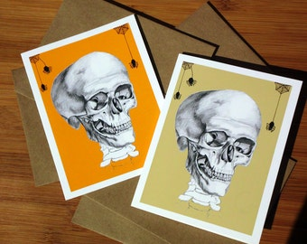 Creepy Cute, Blank Cards, Gothic, Anatomical Skull, Spooky, Boxed Set of 6, Halloween Cards, Macabre Card, Spiders,Creepy Gift, Anatomy Gift