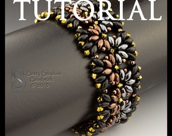Beading Tutorial for Metallic Duos Bracelet- digital download