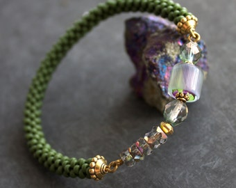Green Beadwork Bangle Bracelet Seed Beaded Glass Beadwoven Purple Lavender Aurora Boho Jewellery