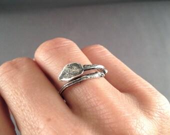 Twig Jewelry, Leaf Ring, Twig Ring, Silver Leaf