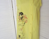 Dress, Yellow Sleeveless Japanese Design, Mod Housedress - Size M-L