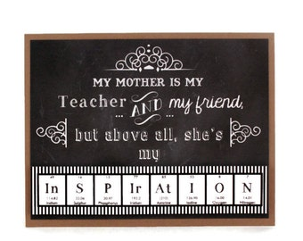 Mothers Day Card Science Periodic Table Chemistry Mom Gift Idea Teacher Black and White