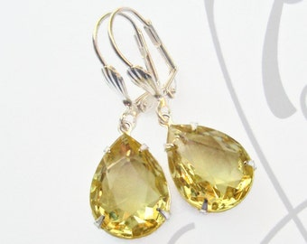 Great Gatsby Earrings Citrine Yellow Crystal Earrings Victorian Jewelry CAMBRIDGE Citrine