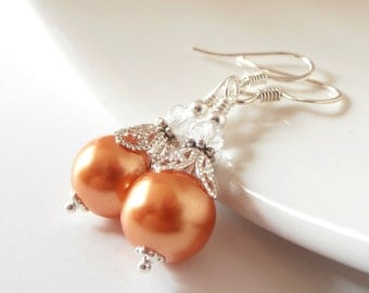 Orange Pearl Earrings, Tangerine Bridesmaid Jewelry, Summer Wedding Jewelry, Pearl Bridesmaid Earrings, Bridesmaid Gift, Orange Dangles
