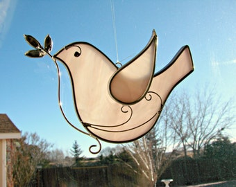 Soft Pink Peace Dove with Olive Branch - Stained Glass