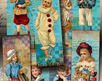 Printable download VINTAGE KIDS Bookmarks Vintage Images Digital Collage Sheet print-it-yourself Scrapbooking craft paper art cult ephemera
