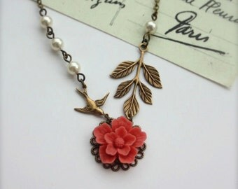 A Coral Sakura Flower, Flying Swallow Bird, Brass Leaf, Ivory Pearls Necklace. Bridesmaids Gift Ideas. Maid of Honor.  Gift For Sister.