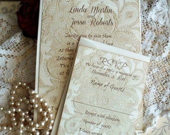 Vintage Lace Romantic Wedding Invtations Handmade by avintageobsession on etsy