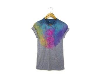 """Grey Spectrum Rainbow Tee - Original """"Splash Dyed"""" Boyfriend Fit Crew Neck T-shirt with Rolled Cuffs in Heather Gray - Womens Size S-3XL"""