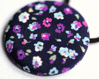 Urban Floral Fabric Button Hair Tie