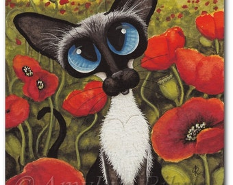 Siamese Cat Poppies - Art Prints by Bihrle ck348