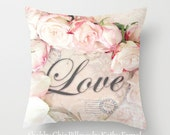 Love Pillow Case Cover, Shabby Chic Roses Love Pillow Cover, Baby Girl Nursery Pillow, Love Throw Pillow, Love Roses Decorative Pillow Case