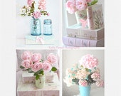 Shabby Chic Decor, Flower Photography, Pink Teal Baby Girl Nursery Decor, Pink Aqua Teal Floral Wall Art, Pink Roses Flower Photos Pictures