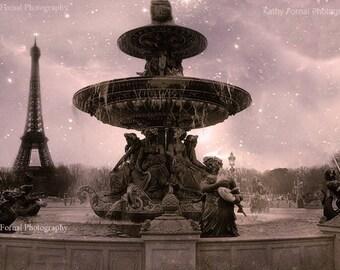 Paris Photography, Romantic Concorde Fountain, Paris Landmarks, Paris Eiffel Tower, Paris Pink Wall Art, Paris Romantic Fountains Statues