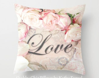Love Pillow Cover, Shabby Chic Roses Love Pillow Cover, Baby Girl Nursery Throw Pillow, Love Throw Pillow, Love Roses Decorative Pillow Case