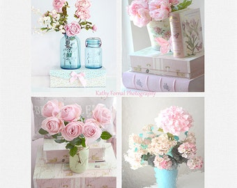 Shabby Chic Flower Photographs Pink Aqua Prints Baby Girl Nursery Decor Peony