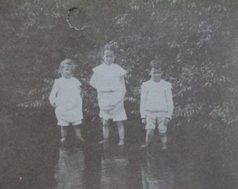 3 Cute Kids Standing in the Shallow River - Shorts - Girls - Antique Cabinet Photo - 1905