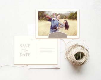 Save the Date Postcard Photography Template - Engagement Announcement - Wedding Photography Marketing - Design By Bittersweet