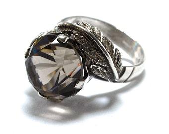 Giant Smokey Quartz & Sterling Silver Ring - Size 8