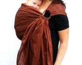 Baby Carrier Ring Sling Cocoa Brown Maternity Superwide Pleated BabyBasics - READY TO SHIP in Standard but can be ordered Any Length
