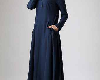 Maxi dress blue linen dress woman's long sleeve dress custom made long dress (890)
