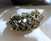 70s Adjustable Ring Antiqued Vintage Costume Rhinestones Jewelry
