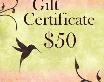 Jasmine Tea Designs, Fifty Dollar Gift Certificate