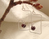Unique and Abstract Simple Sterling Silver Chandelier Earrings with Wire Wrapped Garnet Stones-Handmade