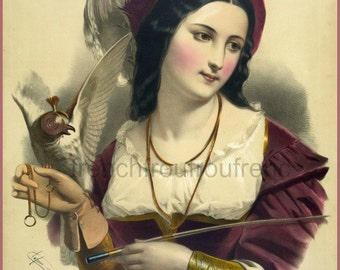 antique victorian french illustration beautiful woman with falcon DIGITAL DOWNLOAD