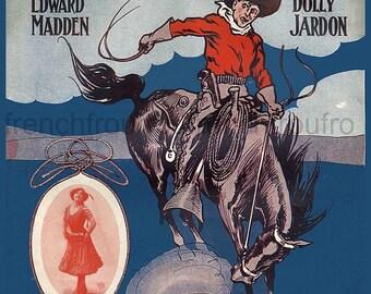 antique victorian illustration rodeo cowboy DIGITAL download