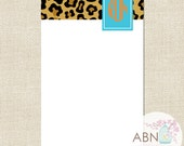 Personalized Notepad With Monogram - LEOPARD Collection - Blue and Orange