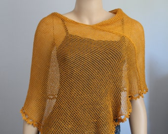 Mustard Knit Crochet Poncho,Linen poncho, summer knit shrug, summer shawl, beach knit wear