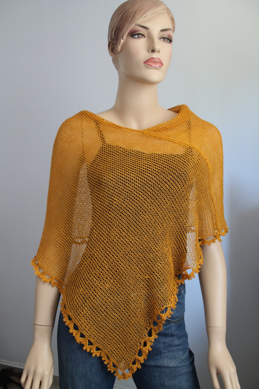 Knitting Pattern For Summer Poncho : Mustard Knit Crochet PonchoLinen poncho summer knit shrug
