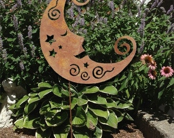 Moon Garden Stake / Garden Art / Garden Decor / Shadow / Cut Out / Metal / Moon / Silhouette / Rustic Moon / Lawn Ornament / Yard Decoration
