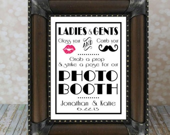 Personalized Photo Booth DIY Printable. Style #2. 1920's Gatsby Photo Booth Sign with Bride & Groom Names, Date. Photo Prop Sign.
