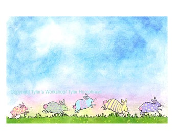 Easter Card - Bunny Rabbits Card - Funny Easter Greeting Card - Bunny Rabbit Watercolor Painting Print 'Easterbunnies'