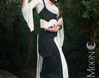 FINAL SALE: The Morrigan Black Brocade Underbust Vest/Harness w/Detachable Hood in Black by Opal Moon Designs (Size L)