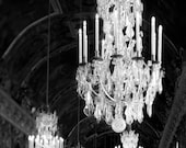 Chandelier Wall Art, Paris Decor, Black and White Photography, Chandelier Print, Paris Bedroom Wall Art