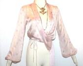 KENZO PARIS Vintage Blouse Silk Wrap Fringe Top - AUTHENTIC -