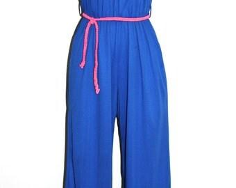 HALSTON IV Vintage Jumpsuit Blue Halter One Piece - AUTHENTIC -