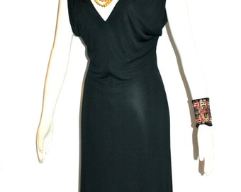 GIANNI VERSACE Couture Vintage Dress Black Jersey Gathered Greek Key Shoulders - AUTHENTIC -