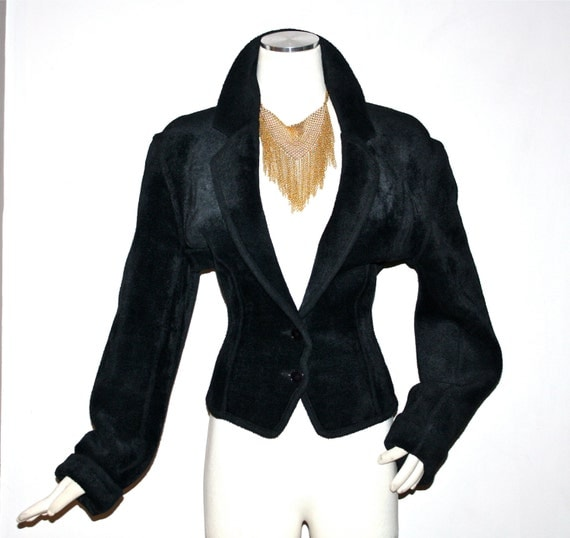 AZZEDINE ALAIA Vintage Chenille Jacket Black Thick Fitted Coat - AUTHENTIC -
