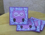 Cute Owl on Floral - Mini Cards Thank You Cards  ( Set of 4)
