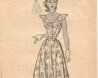 1950s Shirtwaist Dress Pattern - Anne Adams 4563 Vintage Pattern - Bust 33